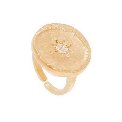 Bague ronde étoile (plaqué or)