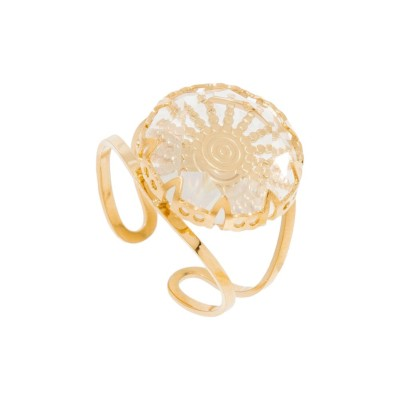 Bague ronde transparente soleil (doré)
