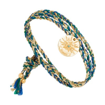 Bracelet multi-tours médaille (bleu)