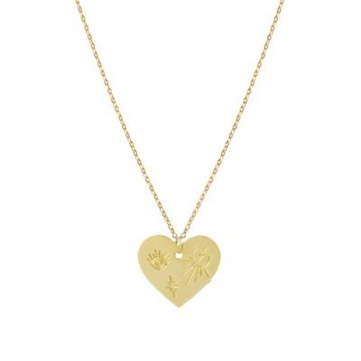 Collier médaille cœur talisman (doré)
