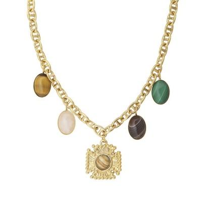 Collier croix multi-pierres (doré)