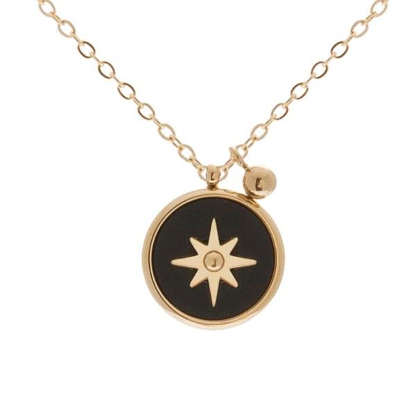 Collier noir et étoile (doré)