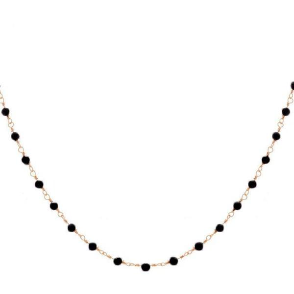 Collier perles fines noires (doré)