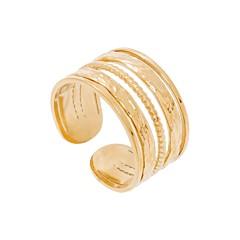 Bague multirangs anneaux lisses texturés (doré)