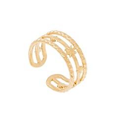 Bague triple anneaux étoile (doré)