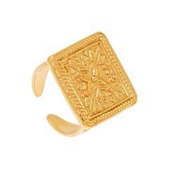 Bague médaille carré gravée (doré), By Garance