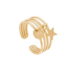 Bague multirangs pendentif étoile (doré)