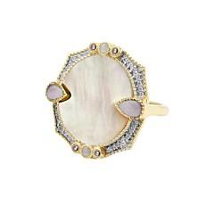Bague pierre ronde et zircons (nacre), Be Maad
