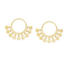 Boucles d'oreilles anneaux pampilles (doré)
