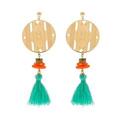 Boucles d'oreilles aztèque et pompon corail (doré), Mademoiselle Aime