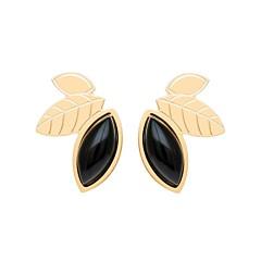 Boucles earcuff feuilles et pierre (agate noire), Aurélie Joliff