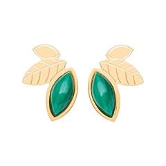 Boucles earcuff feuilles et pierre (malachite)