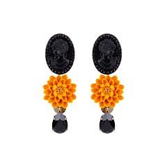 Boucles d'oreilles camée fleur (moutarde), Julie Sion