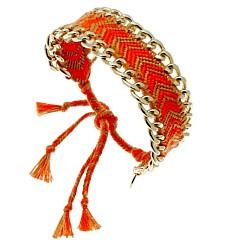 Bracelet Brésilien et chaîne (orange et taupe)