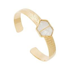 Bracelet jonc hexagone (pierre de lune), Be Maad