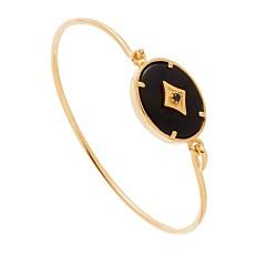 Bracelet jonc ovale onyx (plaqué or), Leticia Ponti
