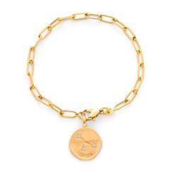 Bracelet maillon médaille à graver signe astro (plaqué or), Atelier de famille