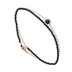 Bracelet multi-tours mini briolette noire (plaqué or rose), Senzou