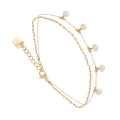 Bracelet 2 rangs perles de culture (doré), Zag bijoux