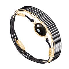 Bracelet multitours maillons et pierre facettée (onyx), By Garance