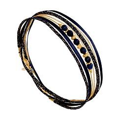 Bracelet multitours pierres bleu marine (doré), By Garance