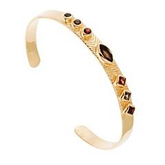 Bracelet jonc quartz fumé et grenat (doré), Lucky Team