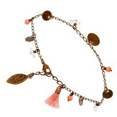 Bracelet gypsy perles et pompons  (bronze/rose), Virginie Monroe