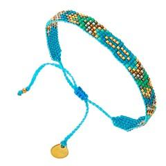 Bracelet fin tissé perles (turquoise), Mishky