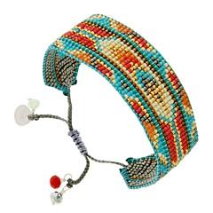 Manchette tissée perles (bleu/corail), Mishky