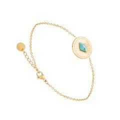 Bracelet médaille pierre losange (turquoise)
