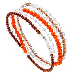 Bracelet multitours perles de cristal (corail, argent), Senzou