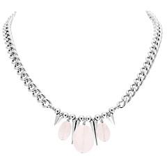 Collier argent pics  quartz rose