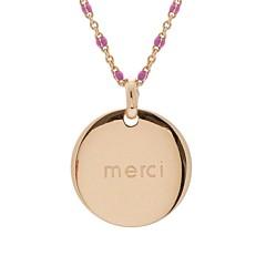 Collier médaille émaillé rose (plaqué or), Petits Trésors