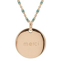 Collier médaille émaillé turquoise (plaqué or), Petits Trésors