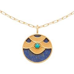 Collier médaille aztèque (lapis/turquoise)