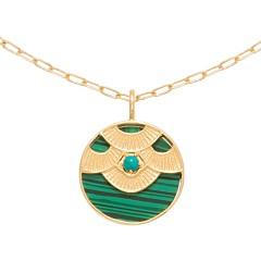 Collier médaille aztèque (malachite/turquoise)