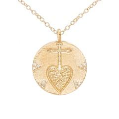 Collier médaille épée coeur (doré)