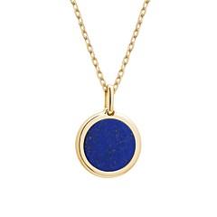 Collier médaille pierre à graver (lapis/plaqué or), Petits Trésors