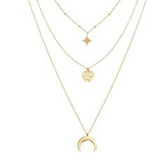 Collier multirangs corne et médaille martelée (doré), Siloé Paris