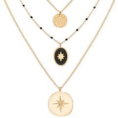 Collier multirangs étoiles et médaille (onyx), Siloé