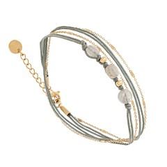 Bracelet multitours chaine fine et pierre (gris)