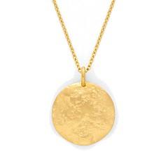 Collier médaille martelée Maya à graver (plaqué or), Atelier de famille