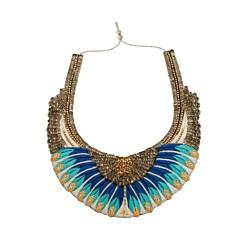 Collier plastron perles tissées Nishka (bleu), Nahua