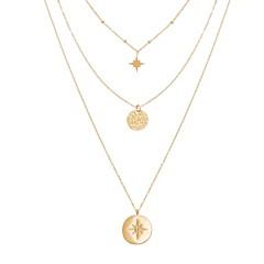 Collier triple rangs médailles et étoile (doré), Siloé Paris