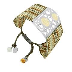 Bracelet manchette perles et plaque argentée, Surfing Rainbow Mishky
