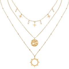 Collier multirangs astre perles blanches (doré)